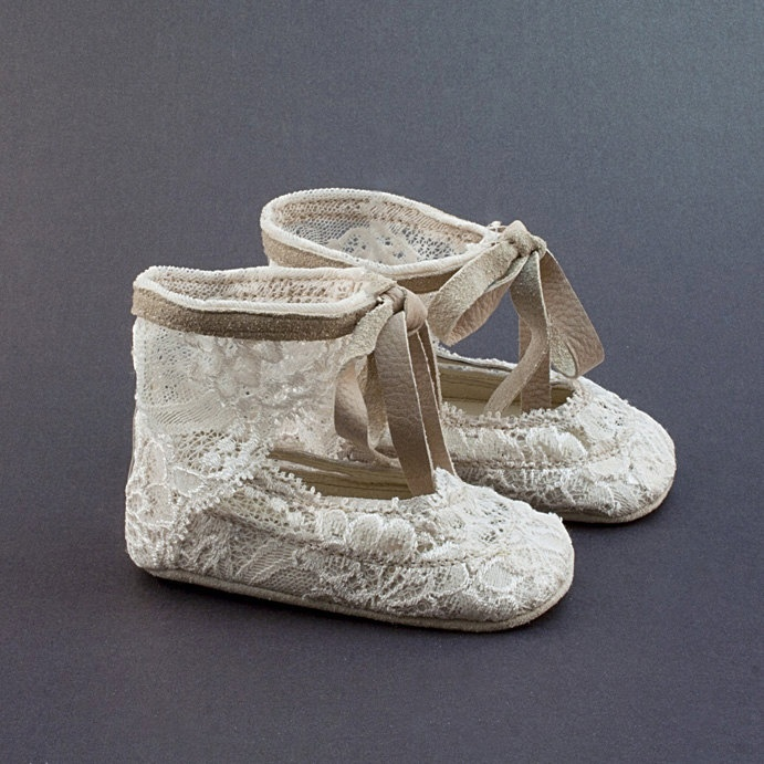 Baby shoes from lace-covered beige leather. $55.00, via Etsy.