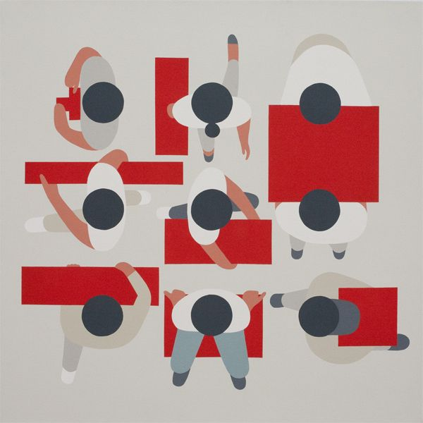 Geoff McFetridge often seen in The New York Times, known for his very graphic signature style of pastel colors and simple shapes