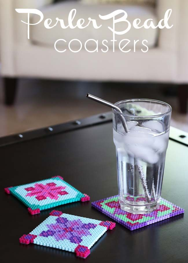 Make // Perler Bead Coasters ~ I have some nice small cross stitch patterns that would translate over nicely!