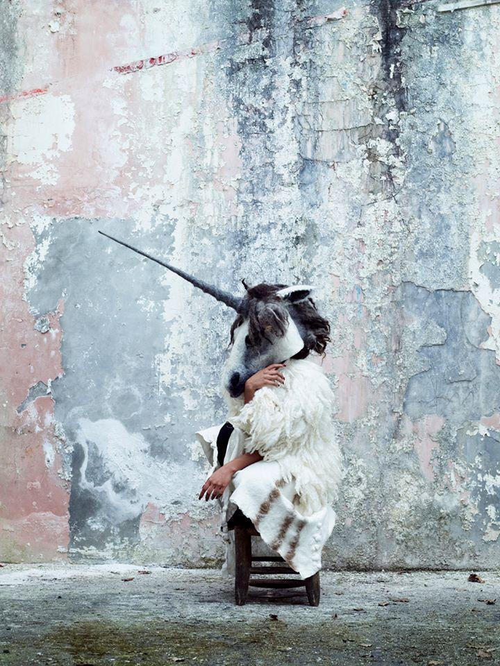 Unicorn felt headdress, nuno felt dress & nuno felt wrap by Gladys Paulus, Photography by Bella West Photography. Model: Yarhorina.