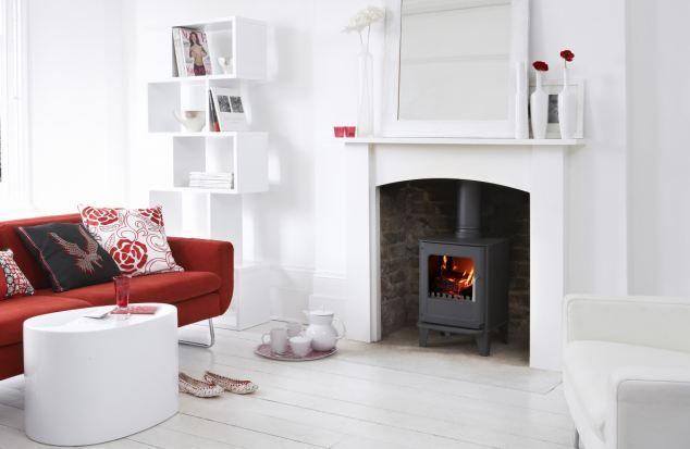 Woodburning stove and wood surround