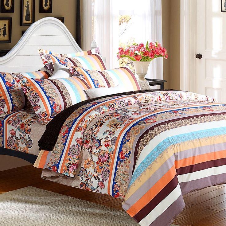 Orange Blue and Brown Vintage Linen Tribal Pattern Stripe Print Western Style 100% Brushed Cotton Bedding Sets