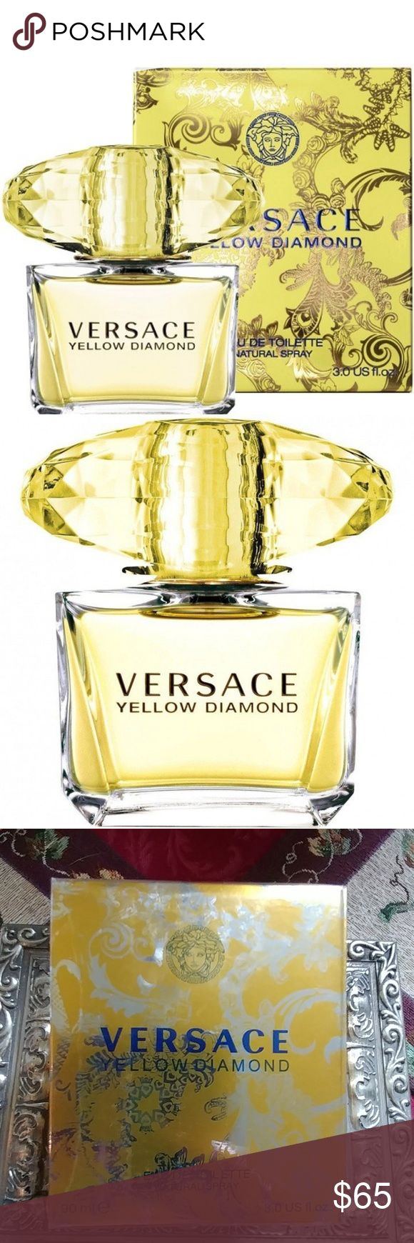 Versace Yellow Diamond Edt Spray For Women Versace Yellow Diamond Edt Spray For Women New/Sealed retail box  Pure sensuality, pure transparency, pure light: Once more an authentic jewel of rare beauty unveiled in a fresh and vivid floral perfume. The unmistakable glamour of Versace. Notes: Citron from Diamante, Pear Sorbet, Neroli, Bergamot, Nymphea, Freesia, Orange Blossom, Mimosa, Amber Wood, Palo Santo, Musk Style: Surprising. Radiant. Fascinating. Versace Makeup