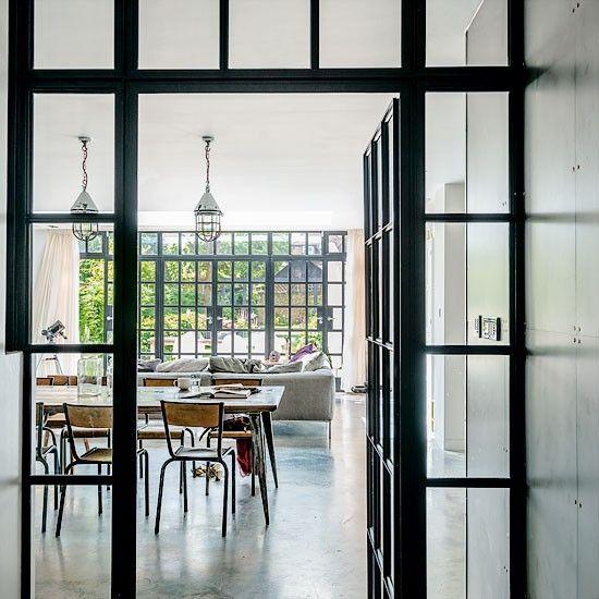 delightful black metal windows and doors. swoon