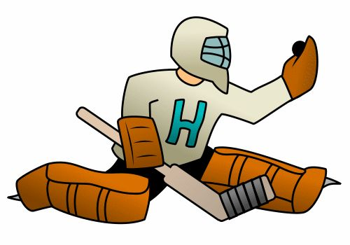 Hockey goaltender is featured in this cartoon illustration.