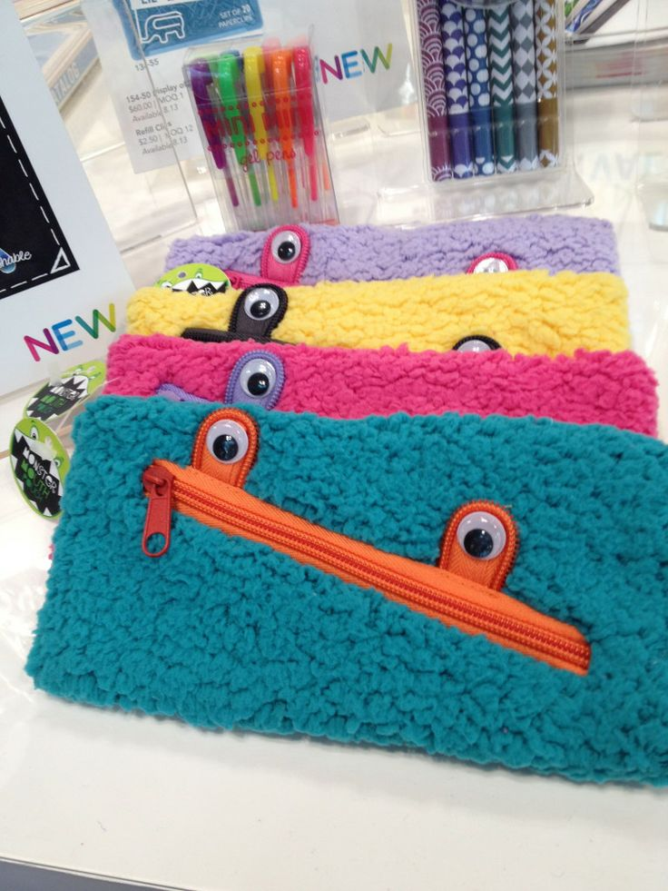 fluffy monster pencil cases