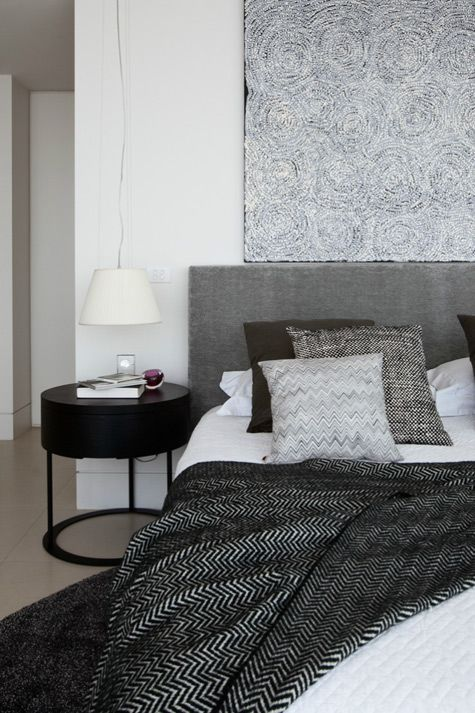 Grey, black, white. Love the throw and cushions: Interior Design, Decor, Ideas, Grey Bedrooms, Bedside Table, Interiors, White Bedroom