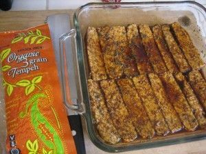 Making tempeh bacon - great for breakfast, on a sandwich, pita, or chopped in a salad or casserole