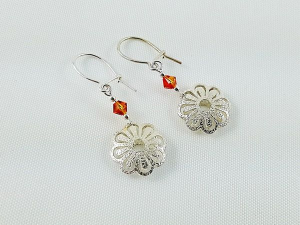 Girl's Jewelry, Earrings for Girl, Sterling Silver Earrings, Crystal Earrings, Christmas Gift for Girl, Gift Ready to Ship, Flower Earrings by modotikon on Etsy