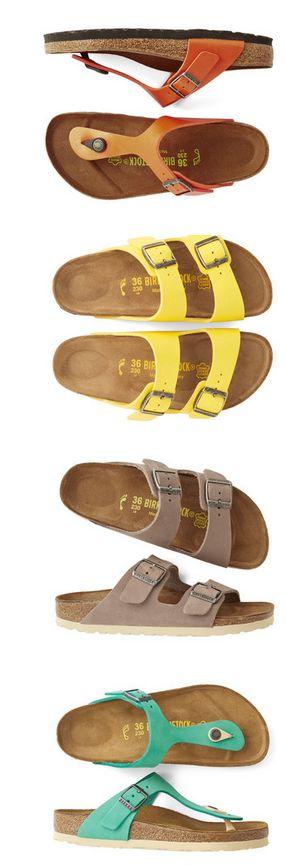 Birkenstock - No ano de 1902, foi criada a primeira palmilha com o formato anatômico dos pés, a qual foi rapidamente distribuída na Alemanha. Em 1964, Karl Birkenstock, desenvolveu a primeira sandália Birkenstock. A sandália era composta por uma base de cortiça em forma anatômica, acamurçada na parte onde se coloca os pés, sendo arrematada por duas tiras de couro com fivelas laterais. Possuía ainda uma fina camada de borracha em sua sola.