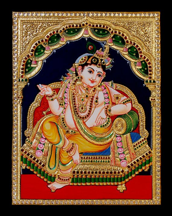 Krishna1 Tanjore Painting  Framed Art by MidastouchNK on Etsy