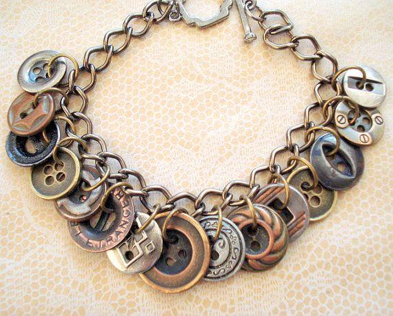 OOAK Vintage Multimetal Button Bracelet by joyceshafer on Etsy, $28.50
