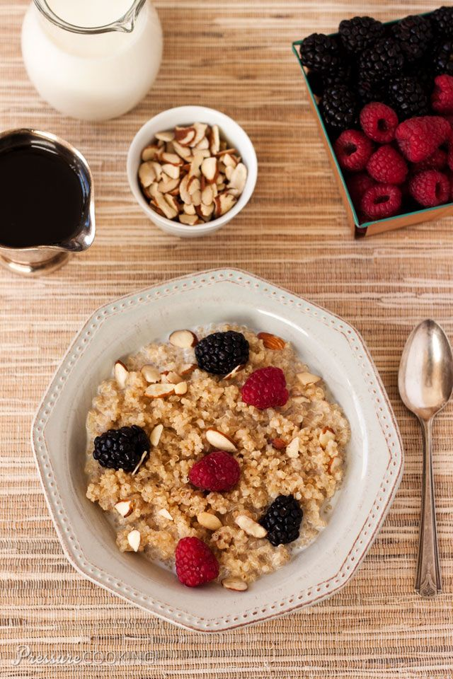 Pressure Cooker Breakfast Quinoa with Berries and Almonds - a great tasting breakfast loaded with protein and fiber.