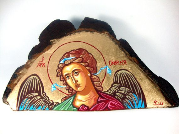 Archangel Gabriel -  - Handmade Byzantine Style Religious Greek Icon On Wood FREE SHIPPING