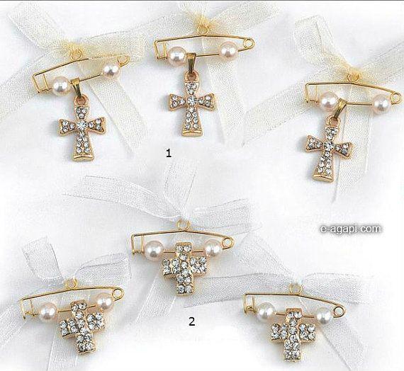 50 Gold wedding pins pearls rhinestone cross safety by eAGAPIcom