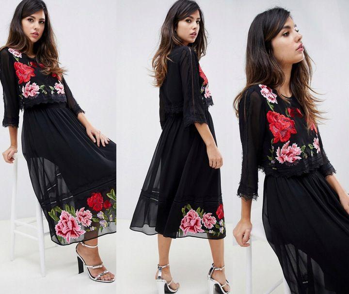 F 2 11 16 Sukienka Maxi Haft Kwiaty Rozm44 7928209554 Oficjalne Archiwum Allegro Fashion Dresses Floral Skirt