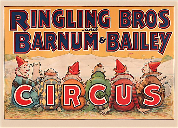 Ringling Bros and Barnum & Bailey Vintage Circus Poster, giclee reproduction, framed or unframed. Made in USA by MUSEUM OUTLETS  #ringlingbros  #barnumbailey  #circusposter   #vintage  #wallart