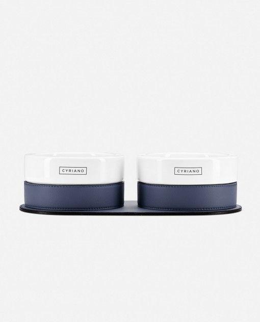Twins - Azul. Unos cuencos realizados en cerámica y con una base de piel sintética antideslizante.