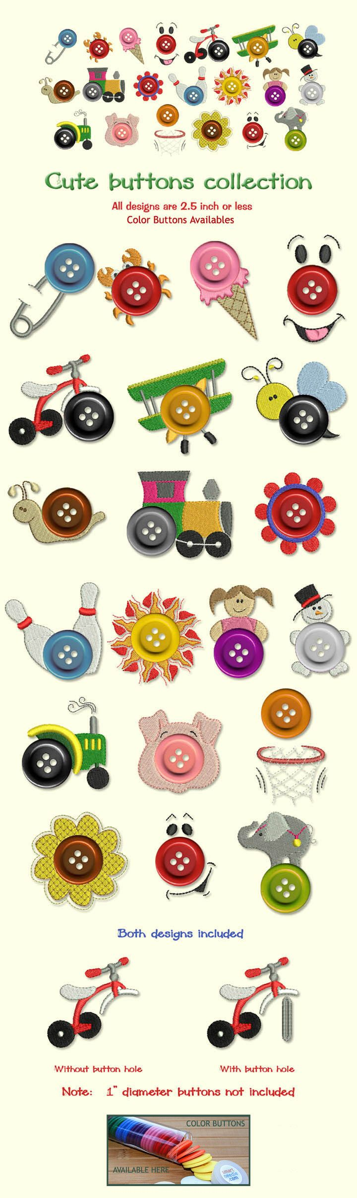ButtonArtMuseum.com - Cute Buttons Miniature Embroidery Designs Free Embroidery Design Patterns Applique