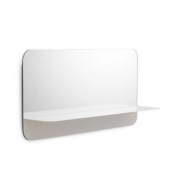 Normann Copenhagen Spiegel Horizon Mirror horizontaal wit staal 40x80cm - lefliving.be