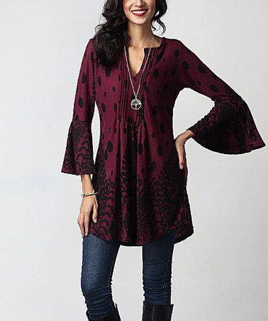Look at this #zulilyfind! Burgundy Vine Dot Notch Neck Bell-Sleeve Tunic by Reborn Collection #zulilyfinds