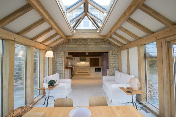 Internal green oak frame structure orangery. Built by Parker Oak, based in North Yorkshire