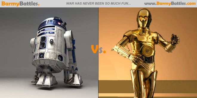 R2D2 Vs C3PO Well, here they are! The most recognized robots (droids) in the film industry. #r2d2 #c3po #StarWars Vote Now! http://www.barmybattles.com/2013/12/06/r2d2-vs-c3po/