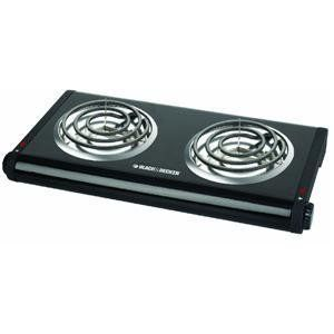 Black & Decker DB1002B Double-Burner Portable Buffet Range by Black & Decker. $30.29. Dual adjustable temperature control knobs set temperature for each burner independently to cook or keep warm. Measures 11.42 by 22.76 by 5.43-inch; 2-year limited warranty. Power indicator light for each burner provides peace of mind and extra security during use. Coil burner design distributes heat evenly for better results. Double burner is lightweight for easy portability ...