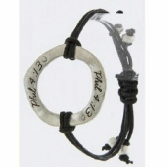 """Designer's Philippians 4:13 Etched Ring Accent Bra Philippians 4:13 reads: """"I can do all things through Christ which strengthens me."""" Translations may vary, but the meaning still stand. Wear this bracelet understanding Matthew 19:26. Jewelry Bracelets"""