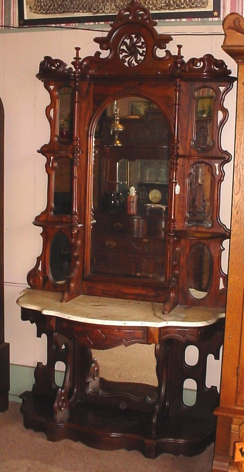 Rosewood Marble Top Victorian Etagere