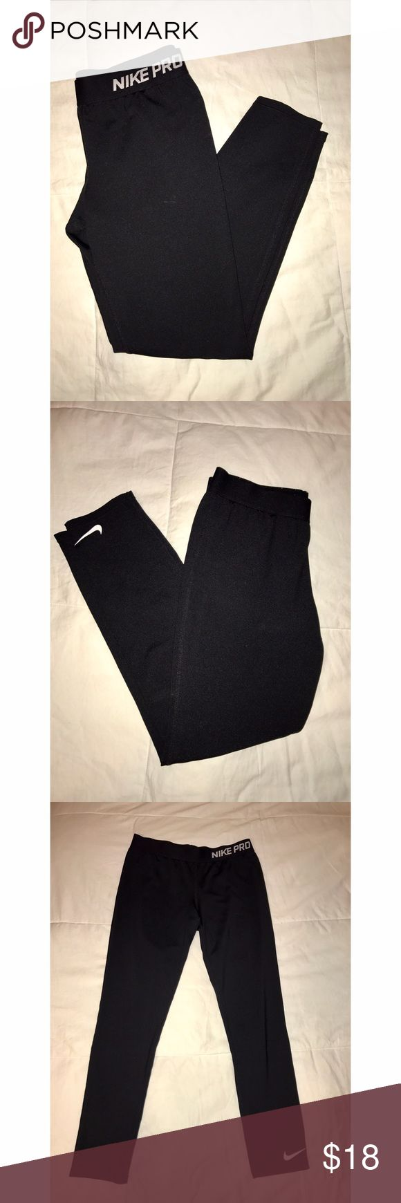Nike Pro Black Leggings these are KIDS XL • worn twice • I am usually a ladies 00 or XS & these are big on me • open to offers Nike Pants Leggings