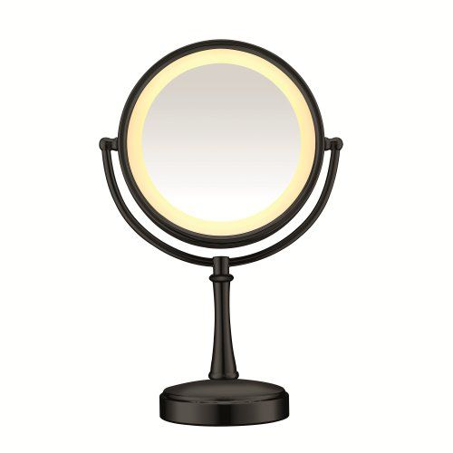 nice Conair Touch Control Double-Sided Lighted Mirror, Matte Black Finish