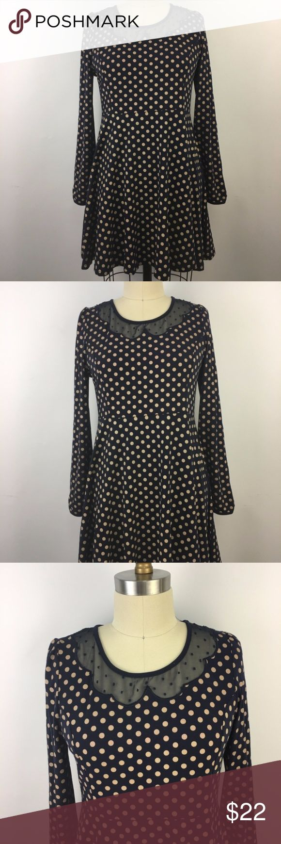 Etam Weekend Dress Navy Blue Tan Polka Dots Sz 8 Etam Weekend Dress Womens Blue Tan Polka Dots Fit N Flare Peter Pan Neck Sz 38 / 8  Measurements :   Chest:  36 inches around Shoulder to Hem:  32 inches long Sleeve:  26 inches long The exact fabric blend is 60.4% Polyester / 35.6% / 4% Spandex Etam Weekend Dresses