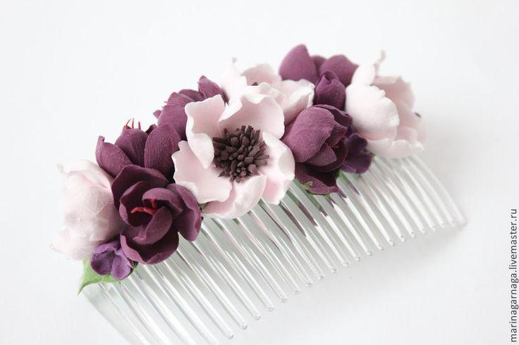 """Купить Гребень """"Анемон и фрезия"""" - тёмно-фиолетовый, белый цвет, цветы ручной работы"""