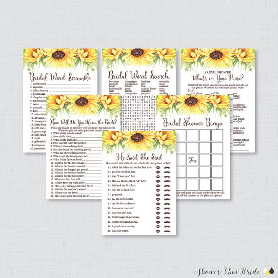 Sunflower Bridal Shower Games Package with by ShowerThatBrideShop