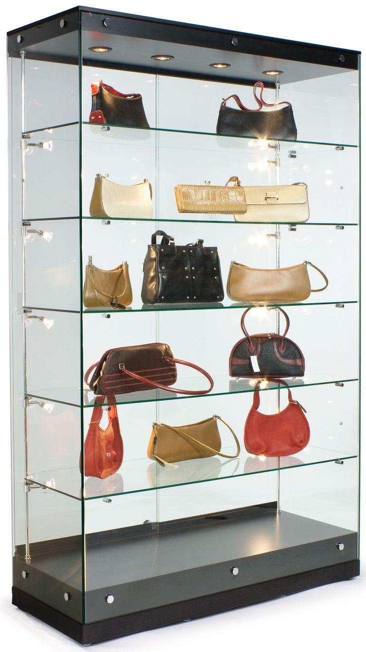 glass display case w framless design adjustable shelves sliding door