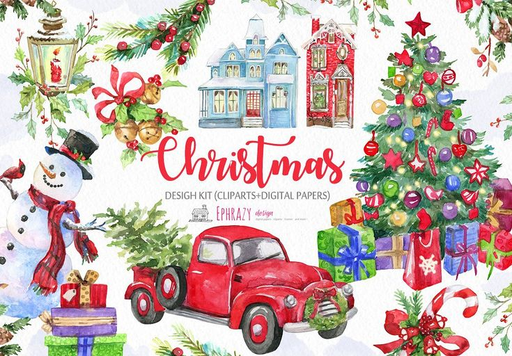 DOWNLOAD:    crmrkt.com/prN886 This clipart set include 11 hand painted high quality Christmas watercolor cliparts. Ideal for invitations to the Christmas theme, greeting cards, phot...