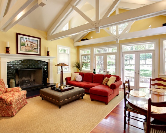 Traditional Family Room Red Couch Yellow Design Pictures Remodel Decor And Ideas
