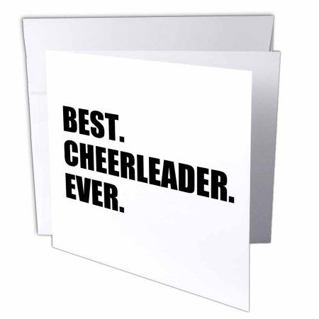 3dRose Best Cheerleader Ever - text - greatest head or team cheerleading girl, Greeting Cards, 6 x 6 inches, set of 12