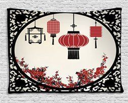 Japanese Wall décor is truly mystical, enchanting and  beautiful. Chances are you have seen  those pretty Japanese wall fans or a captivating cherry blossom painting. Either way Japanese home wall art décor is  stylish, unique and very popular in homes across the USA.   Asian Tapestry Wall Hanging by Ambesonne, Lanterns with Japanese Sakura Cherry Blossom Trees and Round Ornate Figure Graphic, Bedroom Living Room Dorm Decor, 80 W X 60 L Inches, Red Beige Black