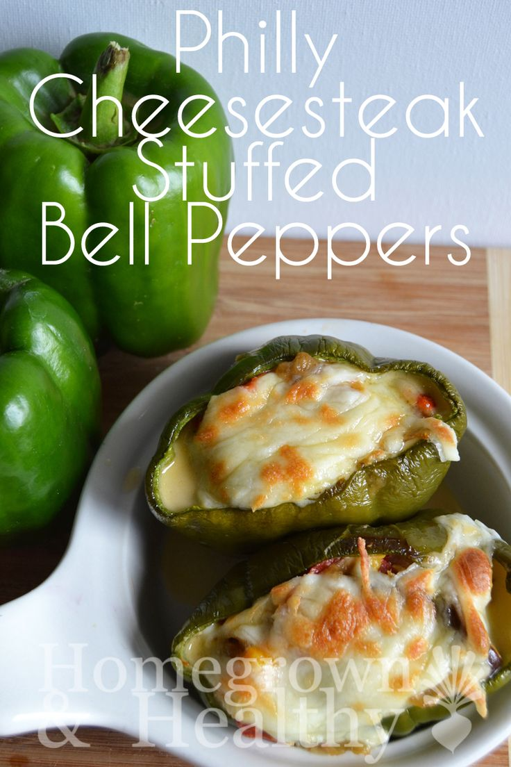 Philly cheesesteak stuffed bell pepper -- I HAVE TO TRY THESE!!!