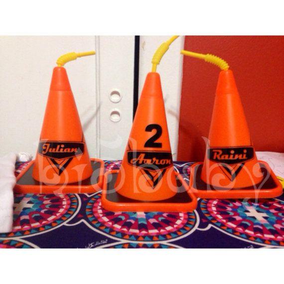 Cars/Construction Cone Cups by Hi5babyHandmadeGoods on Etsy. Cars birthday party. Carsland. Disney cars party. Construction party. Construction birthday party. Traffic cone cups. Cars cone cups. Construction cone cups. Cone cups. Orange cone cups. Personalized cups. Boys cups. Boys sippy cups. Boys party favors. Cozy cone cups. Orange cone cups. Cars party favors. Construction party favors.