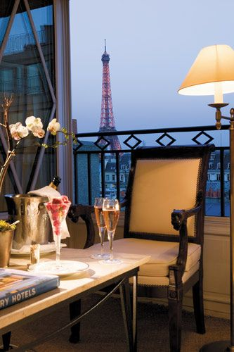 Champagne's bar at Dokan's hotel in Paris, looking at the Eiffel Tower.