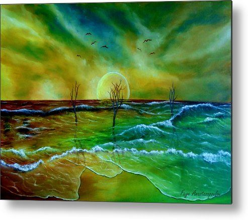 Metal Print, coastal,seascape,scene,beach,waves,water,sandy,sunset,sky,dead,trees,nature,saltwater,ocean,sea,planet,picturesque,vibrant,vivid,colorful,green,blue,impressive,magical,mesmerizing,cool,beautiful,powerful,atmospheric,east,coast,fantasy,mystical,dreamy,dreamlike,contemporary,imagination,surreal,realism,fine,oil,wall,art,images,home,office,decor,painting,artwork,modern,items,ideas,for sale,fine art america,Down At The East Coast