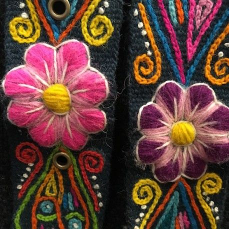 Cinturón Esmeralda peruano bordado en lana de Huancayo - Perú