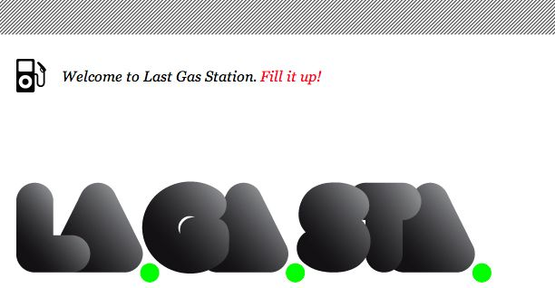Logo for lagasta.com  Last Gas Station is not a music blog. Its more of a refueling point for musical racers.