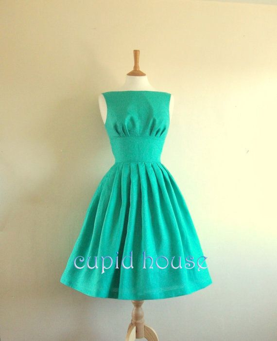 Vintage Prom Dress, Green Bridesmaid Dress, Straps A-line Short V-back Taffeta Grey Blush Pink Purple Navy Blue Wedding Party Dress 2014