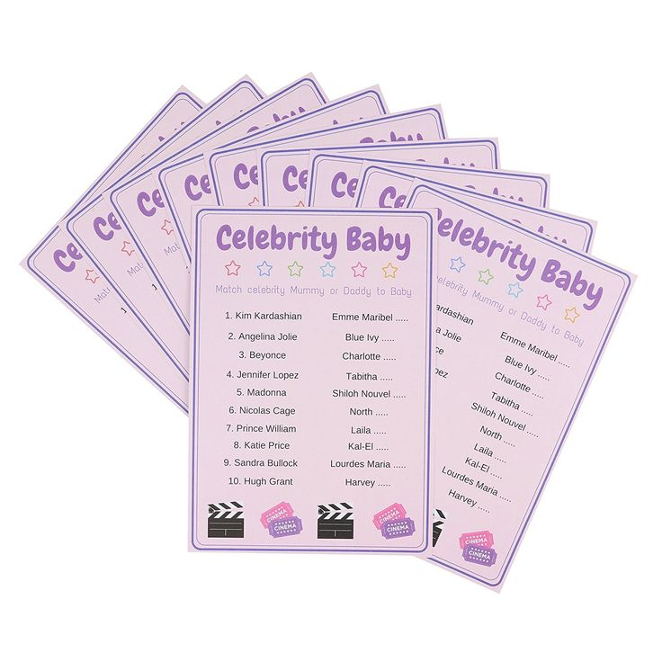 Baby Shower Games Celebrity Baby Quiz. Unisex, Pack of 10 Cards.