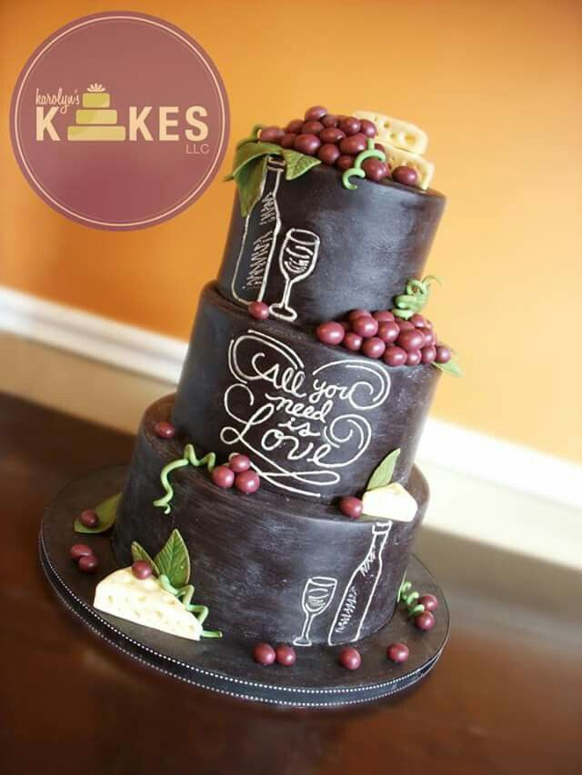 Wine themed cake - For all your cake decorating supplies, please visit craftcompany.co.uk