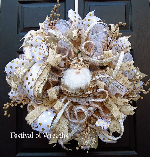 Christmas Santa Deco Mesh Wreath Christmas by FestivalofWreaths
